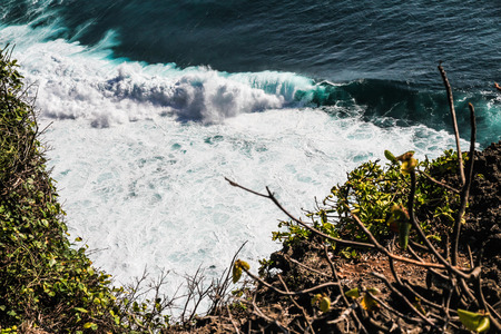 dreamland: View of Big Colorful Ocean Waves near Dreamland Beach - Bali, Indonesia Stock Photo