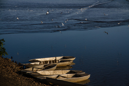 panoramatic: Four small fishing boats on the sun at the Rozmberk pond - Trebon, Czech republic