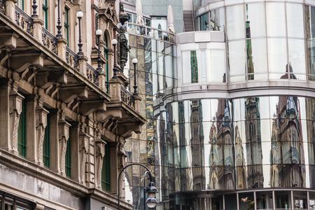 stephansplatz: Reflection of Stephansdom cathedral on office building - Stephansplatz, Vienna, Austria