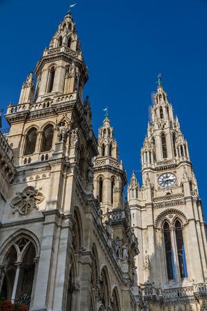rathaus: Townhall Vienna Rathaus towers with blue sky - Rathaus, Vienna, Austria