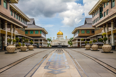 omar: Beautiful View of Sultan Omar Ali Saifudding Mosque from the Main Street-Bandar Seri Begawan, Brunei, Southeast Asia