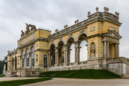 gloriette: Colonade at Schonbrunn royal castle - Schonbrunn, Vienna, Austria