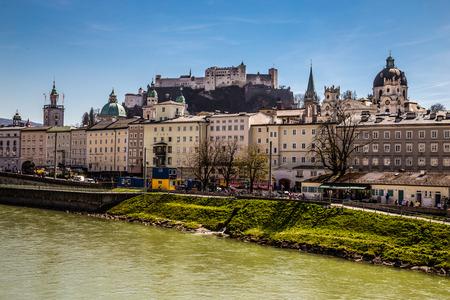 salzach: Beautiful view of Salzburg skyline with Hohensalzburg Castle Hohensalzburg Fortress and Salzach river-Salzburg, Salzburger Land, Austria