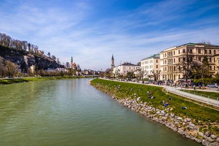 salzach: View of riverside of Salzach river and city Salzburg-Salzburg,Austria,Europe
