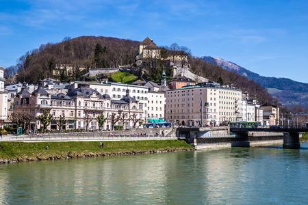 salzach: View of riverside of Salzach river with bankhouse Spangler-Salzburg,Austria,Europe