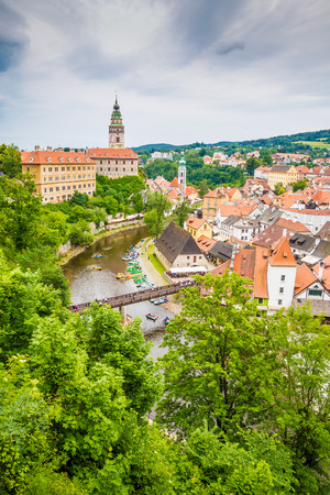 Beautiful view of river, castle and city centre with green trees - Cesky Krumlov, Czech republic, Europe