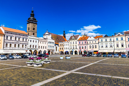 budweis: Beautiful view of main square in Ceske Budejovice with deep blue sky and clouds-Czech Republic, Europe