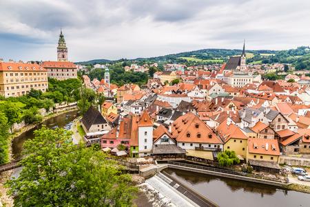 Beautiful view of river, castle and city centre- Cesky Krumlov, Czech republic, Europe