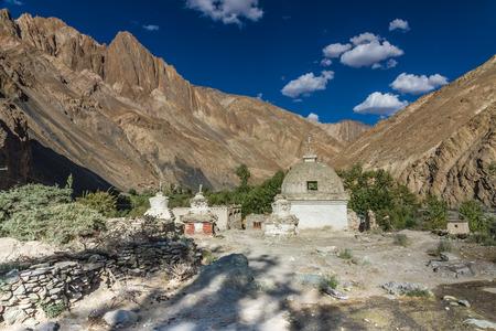 Stone stupa in the middle of Himalaya mountains - Markha trek, Ladakh, India