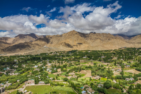 leh: View of Leh city with green valley and Himalaya mountains in the back - Leh, Ladakh, India