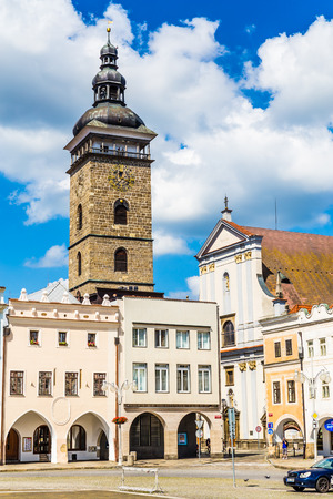 budweis: Beautiful view of Black Tower with blue sky-Ceske Budejovice, Czech Republic, Europe