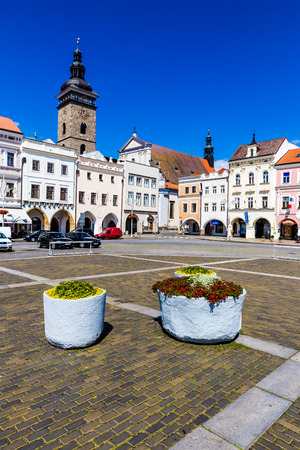 ceske: Beautiful view of main square in Ceske Budejovice with flowers and deep blue sky-Czech Republic, Europe Editorial