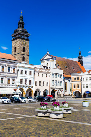 budejovice: Beautiful view of main square in Ceske Budejovice with flowers and deep blue sky-Czech Republic, Europe Editorial