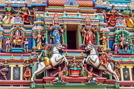 temples: Detail of the Sri Mahamariamman Hindu temple with figures and horses - Kuala Lumpur, Malaysia
