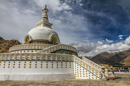 shanti: Shanti stupa with deep blue sky and white clouds - Leh, Ladakh, India Editorial