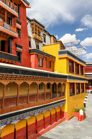 Red and Yellow walls of Thikse monastery - Ladakh, India Stock Photo