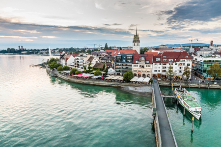Evening Cloudy View of Friedrichshafen City-Friedrichshafen,Lake Constance,Germany,Europe Stock Photo