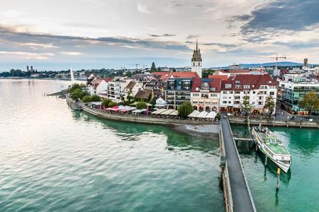friedrichshafen: Evening Cloudy View of Friedrichshafen City-Friedrichshafen,Lake Constance,Germany,Europe Stock Photo