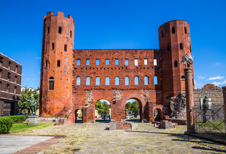View of Palatine Towers During Summer Day-Turin,Italy,Europe Stock Photo