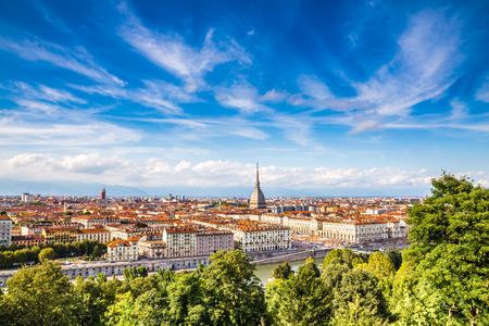 View of Turin city centre during summer day-Turin,Italy,Europe