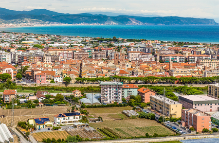 View of the city of Albenga During Cloudy Day- Albenga, Savona, Liguria, Italy