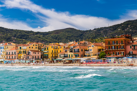 Beautiful View of Sea and Town of Alassio With Colorful Buildings During Summer Day-Alassio,Italy,Europe 版權商用圖片