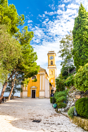 the church of our lady: The Baroque Church Our Lady Of The Assumption During Sunny Day - Eze, France