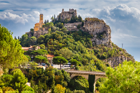 Beautiful View of Medieval Village of Eze Located on The Hill-Eze,France Stock Photo