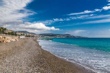 nice: The View of Stony City Beach in Nice During Summer Day-Nice,French Riviera,France