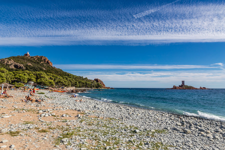 cote d'azur: The landing beach of the Dramont and Île dOr Island-St.Raphael,French Riviera,France Stock Photo