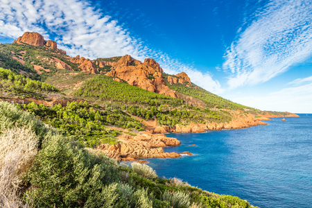azure: Red Rocks of Esterel Massif and Plants During Summer Day-French Riviera, Provence-Alpes, Cote dAzur, France