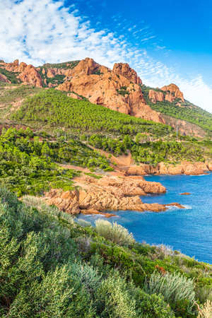 Red Rocks of Esterel Massif and Plants During Summer Day-French Riviera, Provence-Alpes, Cote dAzur, France