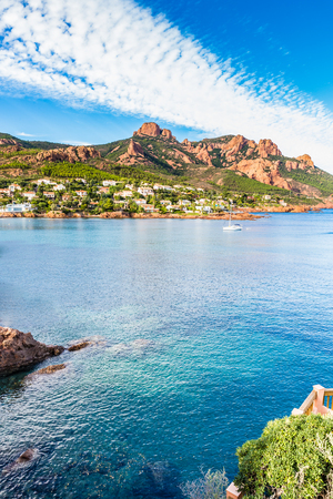 View of Antheor City, Sea and Red Rocks of Esterel Massif During Summer Day-French Riviera, Provence-Alpes, Cote dAzur, France