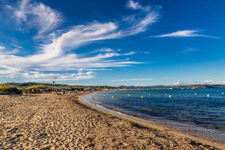 View Of Empty Pampelonne Beach During Summer Day-Saint Tropez, France Stock Photo