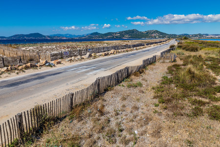 sel: Route Du Sel On Giens Peninsula During Sunny Day-Hyeres,France