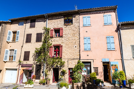 commune: Colorful Buildings In The Tourtour City Center During Summer Day-Tourtour,France Editorial
