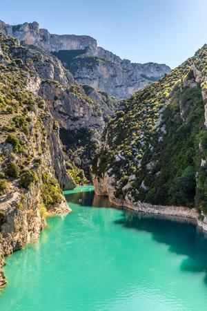 Amazing View Of The Gorges Du Verdon Canyon Between Two Steep Limestone Cliffs-Alpes de Haute Provence,France