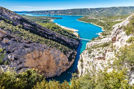 gorges: Amazing View Of The Gorges Du Verdon Canyon, Lake of Sainte Croix And Bridge Over It-Alpes de Haute Provence,France