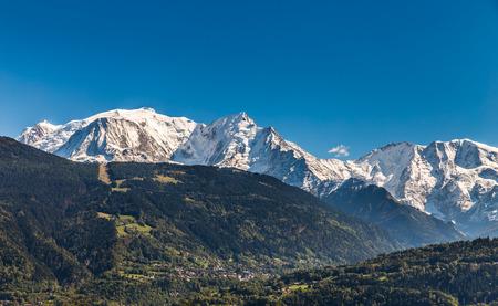 aiguille: View of Mont Blanc, Mont Maudit, Domes De Miage And Aiguille de Bionnassay From Passy-France