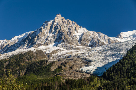 aiguille: View Of The North Face Of Aiguille du Midi From Chamonix - France