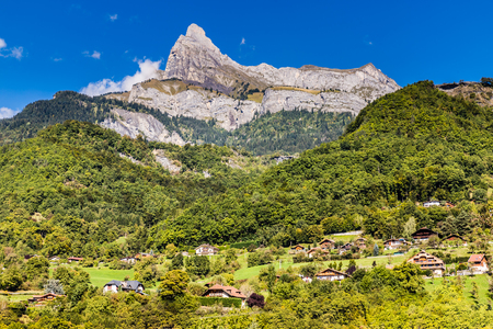 aiguille: View Of Aiguille de Varan in the Faucigny Massif from Passy-Haute Savoie, France