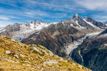 aiguille: View Of Aiguille du Tour, Aiguille du Chardonnet, Aiguille d Argentiere, Aiguille de l A Neuve And Glacier d Argentiere-France