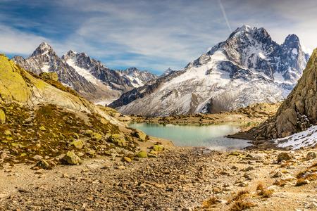 aiguille: View Of Lac Blanc And Aiguille Verte, Aiguille du Chardonnet, Aiguille d Argentiere, Aiguille de l A Neuve And Glacier d Argentiere-France