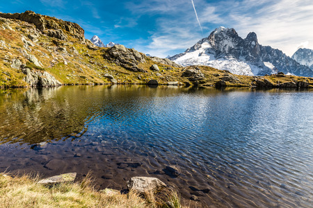 lac: View Of Lac des Cheserys And Aiguille Verte Mountain -France