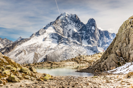 aiguille: View Of Lac Blanc And Aiguille Verte Mountain -France Stock Photo