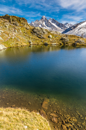 aiguille: View Of Lac des Cheserys And Aiguille du Chardonnet, Aiguille d Argentiere, Aiguille de l A Neuve And Glacier d Argentiere-France Stock Photo