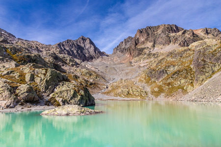 lac: View Of Lac Blanc With Aiguilles Des Rouges In The Background During Summer Day-Mont Blanc Area, France