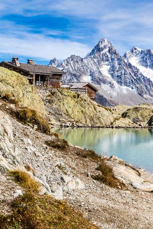 blanc: View Of Lac Blanc, Lac Blanc Refuge, Aiguille du Chardonnet, Aiguille d Argentiere And Aiguille de l A Neuve-Mont Blanc Area,France