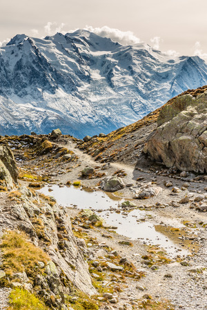 lac: View Of Mountain Range With Mont Blanc From Lac Blanc-Mont Blanc Area, France Stock Photo
