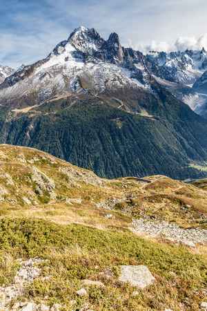 aiguille: View Of Mountain Range With Aiguille Verte Mountain -France